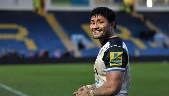 Amanaki Mafi of Bath Rugby is all smiles after making his debut for the club. Aviva Premiership match, between Worcester Warriors and Bath Rugby on February 13, 2016 at Sixways Stadium in Worcester, England. Photo by: Patrick Khachfe / Onside Images