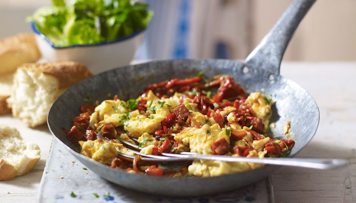 Piperade with Eggs, Tomatoes, Pepper & Chorizo