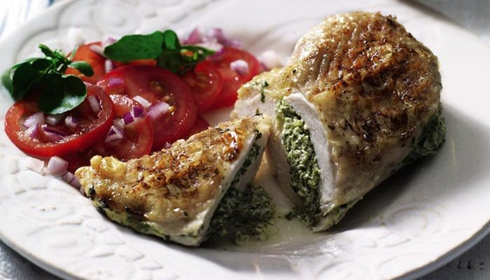 Watercress & Cream Cheese-stuffed Chicken