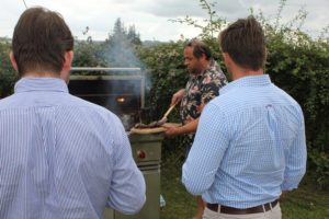 Outdoor cooking expert Marcus Bawdon shows guests how it's done